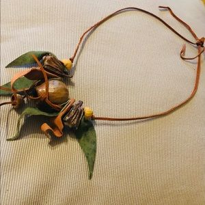Felt leaves leather wooden Necklace